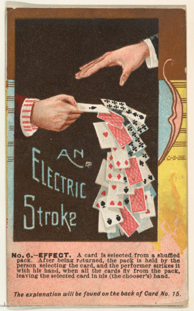 Number 6, An Electric Stroke, from the Tricks with Cards series (N138) issued by W. Duke, Sons & Co. to promote Honest Long Cut Tobacco
