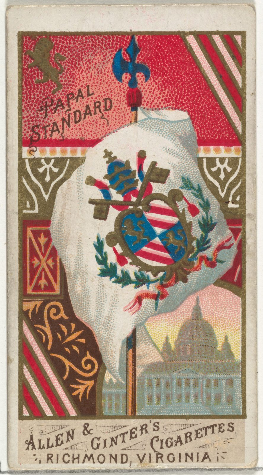 Papal Standard, from Flags of All Nations, Series 1 (N9) for Allen & Ginter Cigarettes Brands