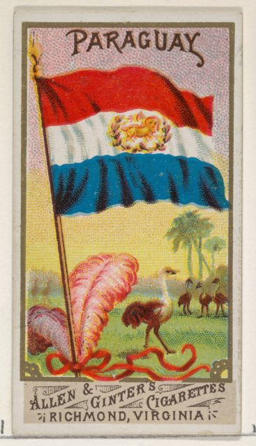 Paraguay, from Flags of All Nations, Series 1 (N9) for Allen & Ginter Cigarettes Brands