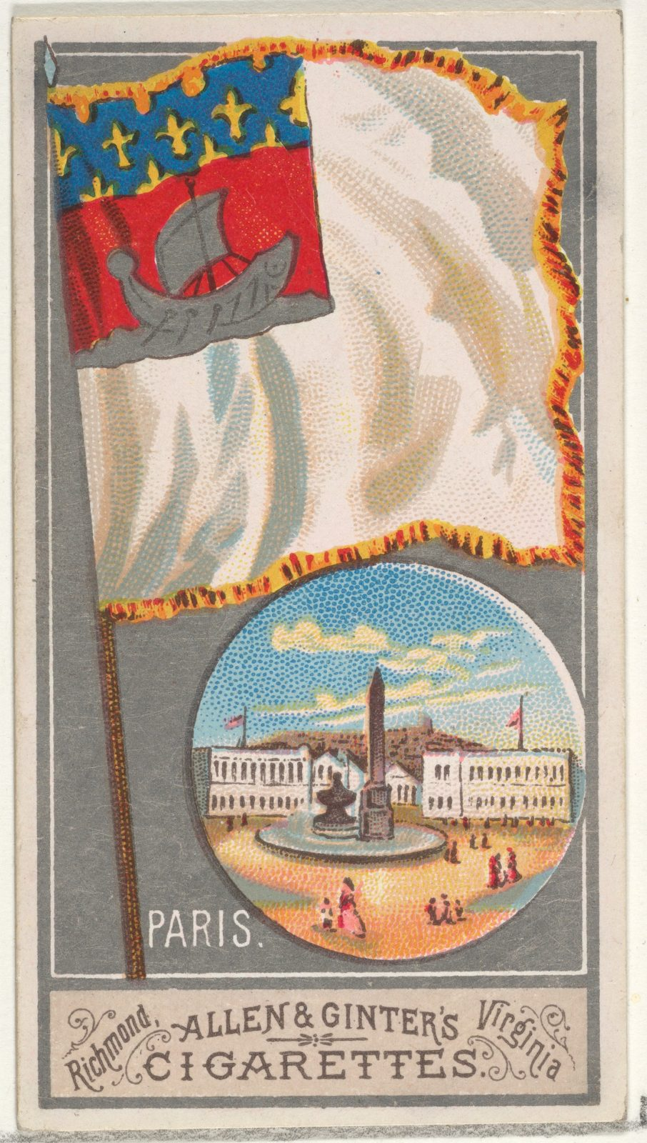 Paris, from the City Flags series (N6) for Allen & Ginter Cigarettes Brands