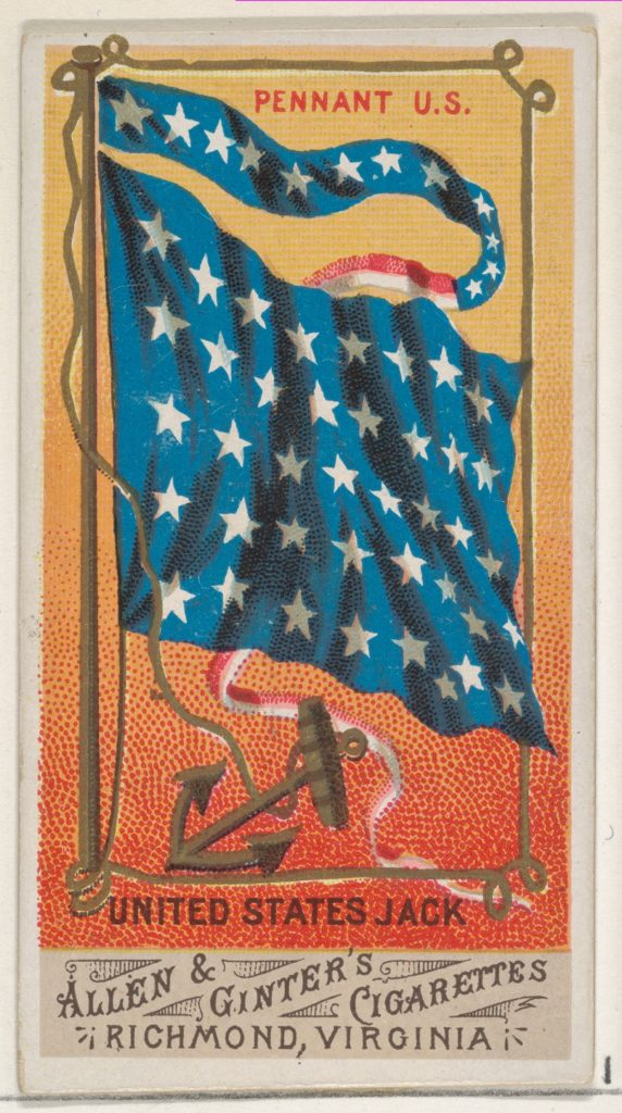 Pennant U.S., United States Jack, from Flags of All Nations, Series 1 (N9) for Allen & Ginter Cigarettes Brands