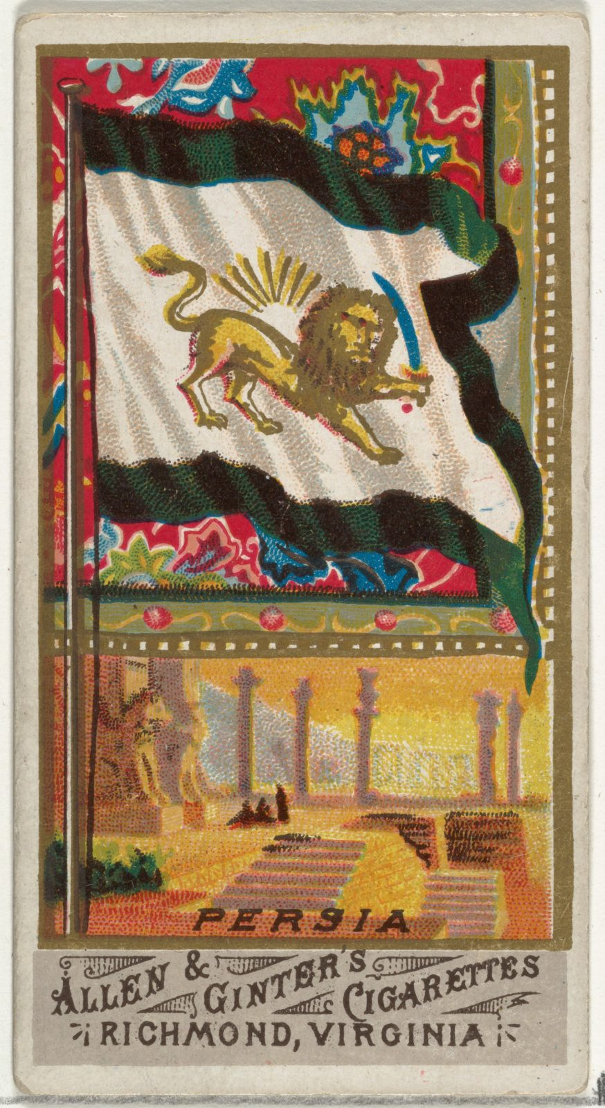 Persia, from Flags of All Nations, Series 1 (N9) for Allen & Ginter Cigarettes Brands