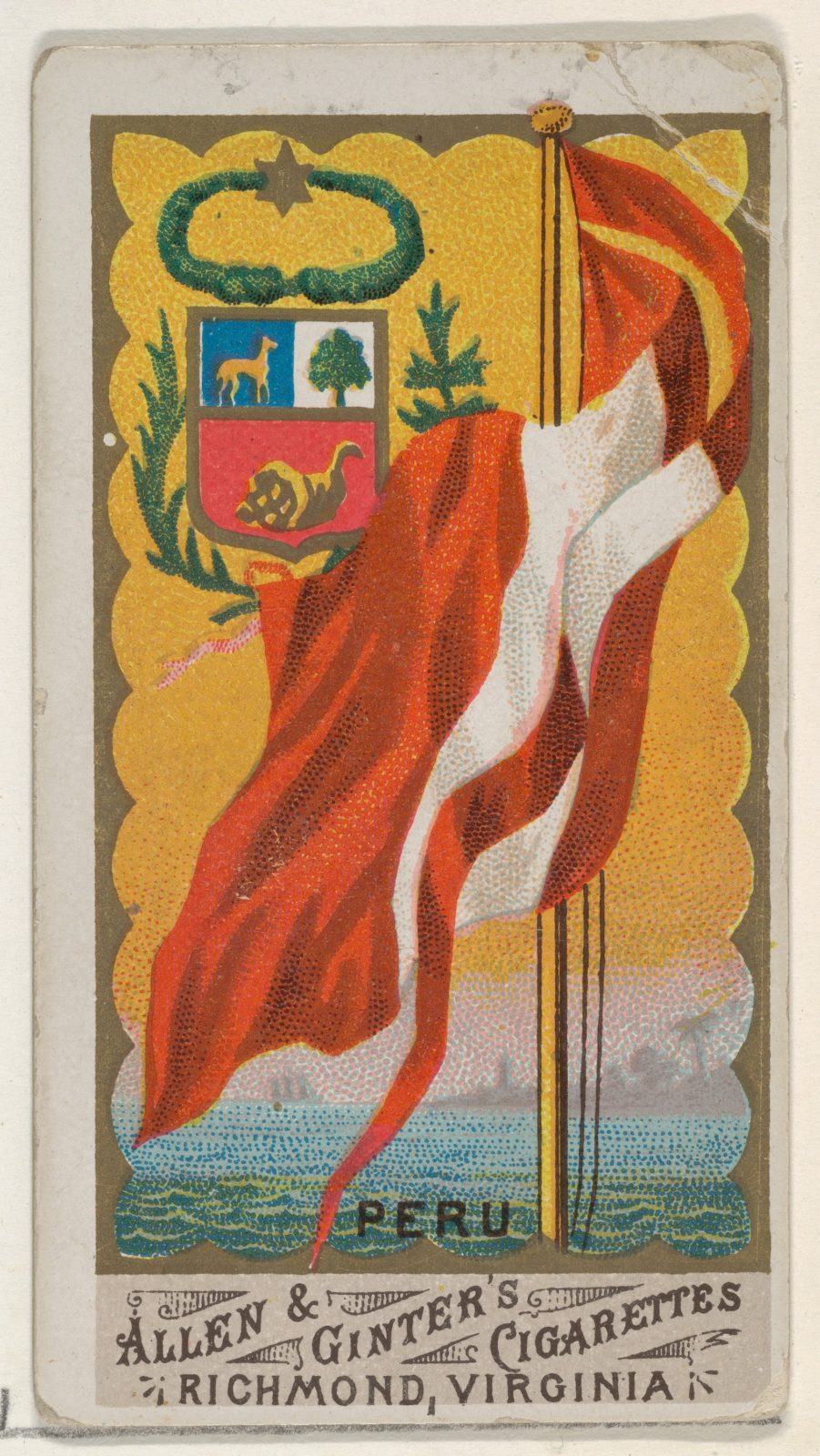 Peru, from Flags of All Nations, Series 1 (N9) for Allen & Ginter Cigarettes Brands