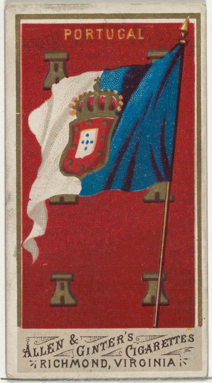 Portugal, from Flags of All Nations, Series 1 (N9) for Allen & Ginter Cigarettes Brands