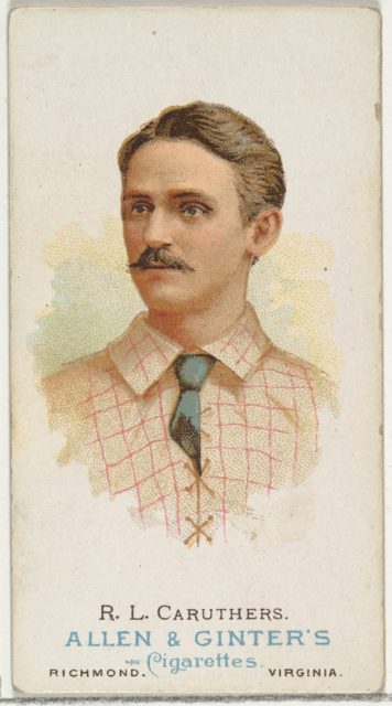 """Robert Lee """"Bob"""" Caruthers, Baseball Player, from World's Champions, Series 1 (N28) for Allen & Ginter Cigarettes"""