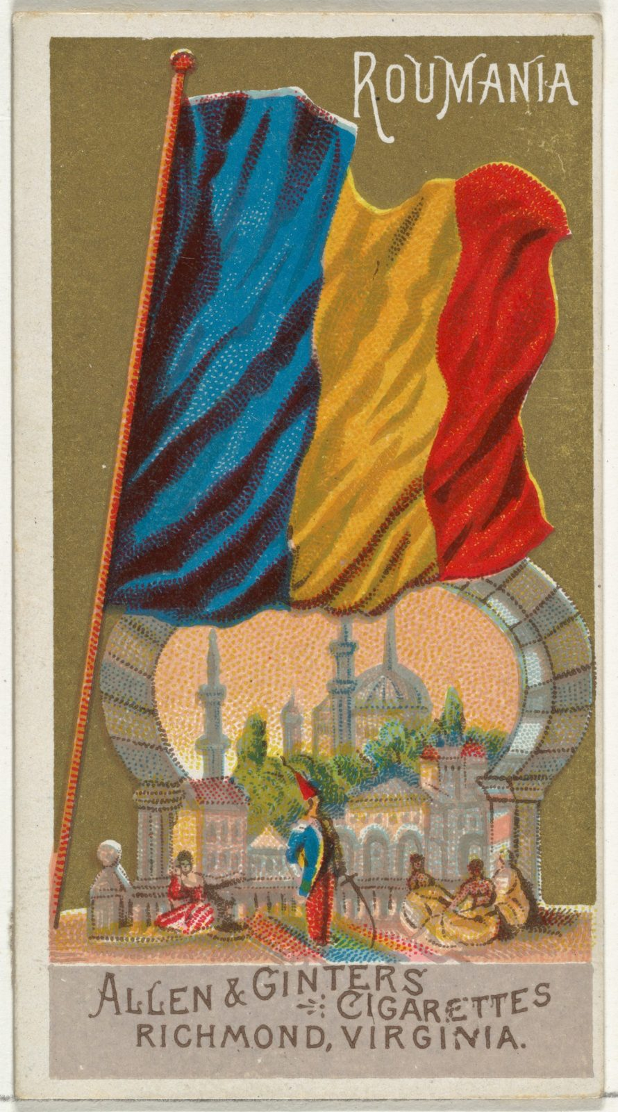 Romania, from Flags of All Nations, Series 1 (N9) for Allen & Ginter Cigarettes Brands