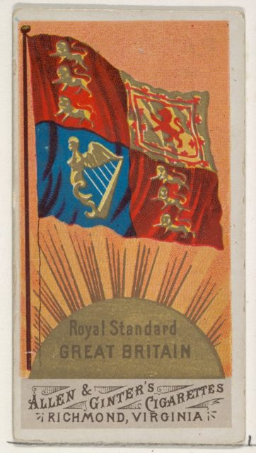 Royal Standard, Great Britain, from Flags of All Nations, Series 1 (N9) for Allen & Ginter Cigarettes Brands