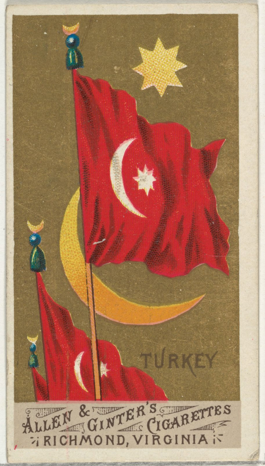 Turkey, from Flags of All Nations, Series 1 (N9) for Allen & Ginter Cigarettes Brands
