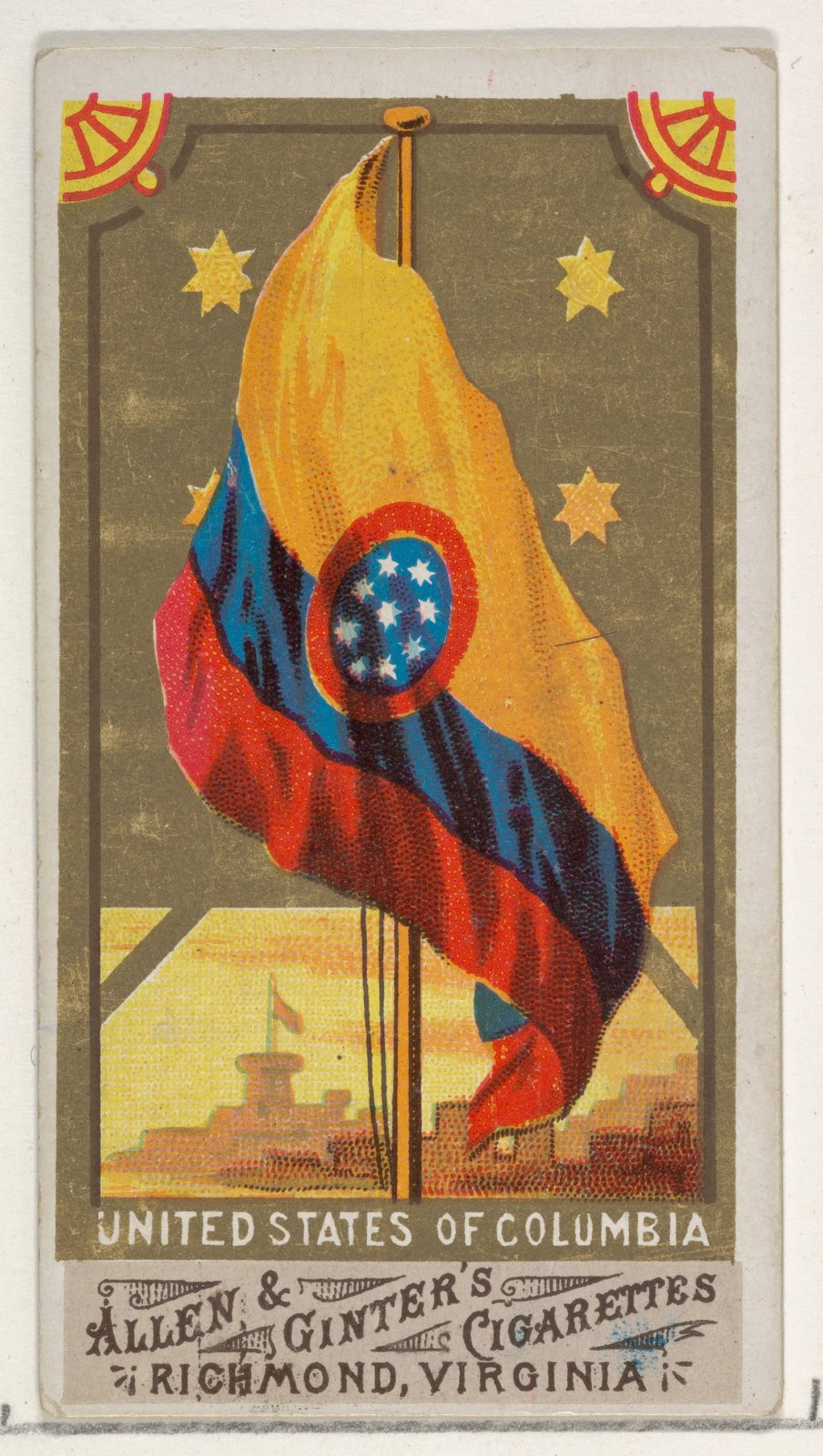 United States of Columbia, from Flags of All Nations, Series 1 (N9) for Allen & Ginter Cigarettes Brands
