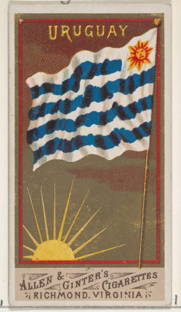 Uruguay, from Flags of All Nations, Series 1 (N9) for Allen & Ginter Cigarettes Brands
