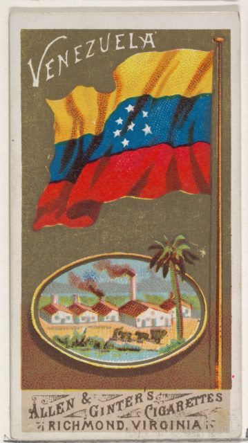Venezuela, from Flags of All Nations, Series 1 (N9) for Allen & Ginter Cigarettes Brands