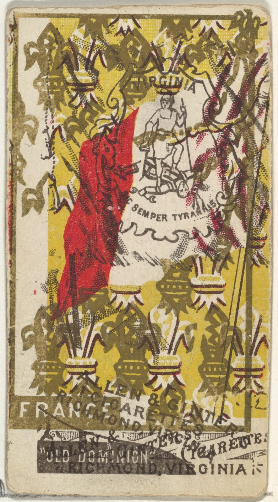 Virginia and France (double-printed card), from Flags of All Nations, Series 1 (N9) for Allen & Ginter Cigarettes Brands