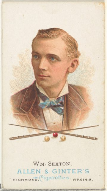 William Sexton, Billiard Player, from World's Champions, Series 1 (N28) for Allen & Ginter Cigarettes