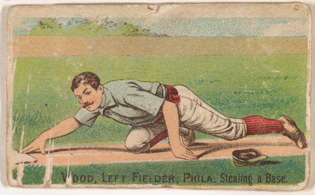 """Wood, Left Field, Philadelphia, Stealing a Base, from the """"Gold Coin"""" Tobacco Issue"""