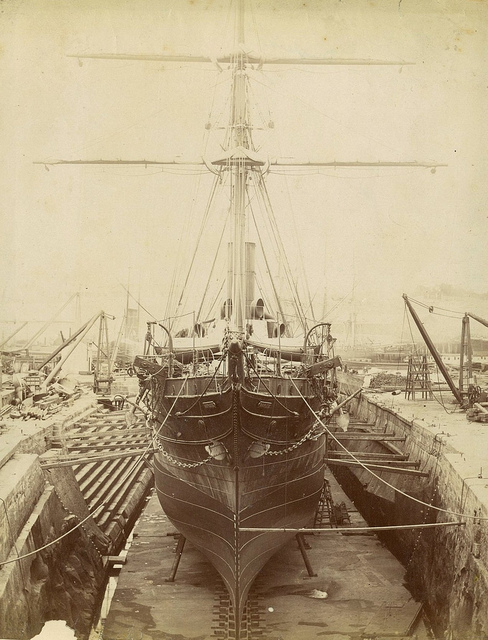 French steamship Dupleix in dry dock, Fitzroy Dock, Cockatoo Island, Sydney, ca. 1887 / photographer unknown