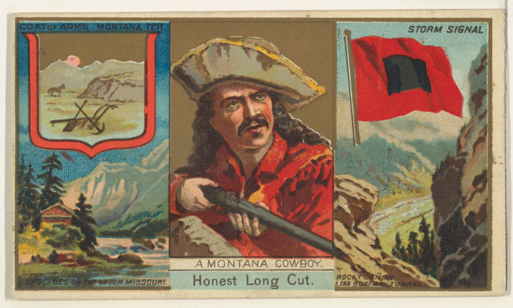 """A Montana Cowboy, from """"Governors, Arms, Etc."""" series (N133-1), issued by Duke Sons & Co."""