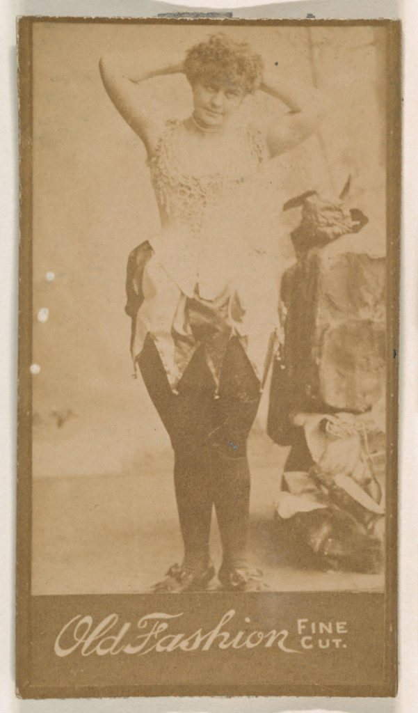 Actress posing with hands behind head, from the Actresses series (N664) promoting Old Fashion Fine Cut Tobacco