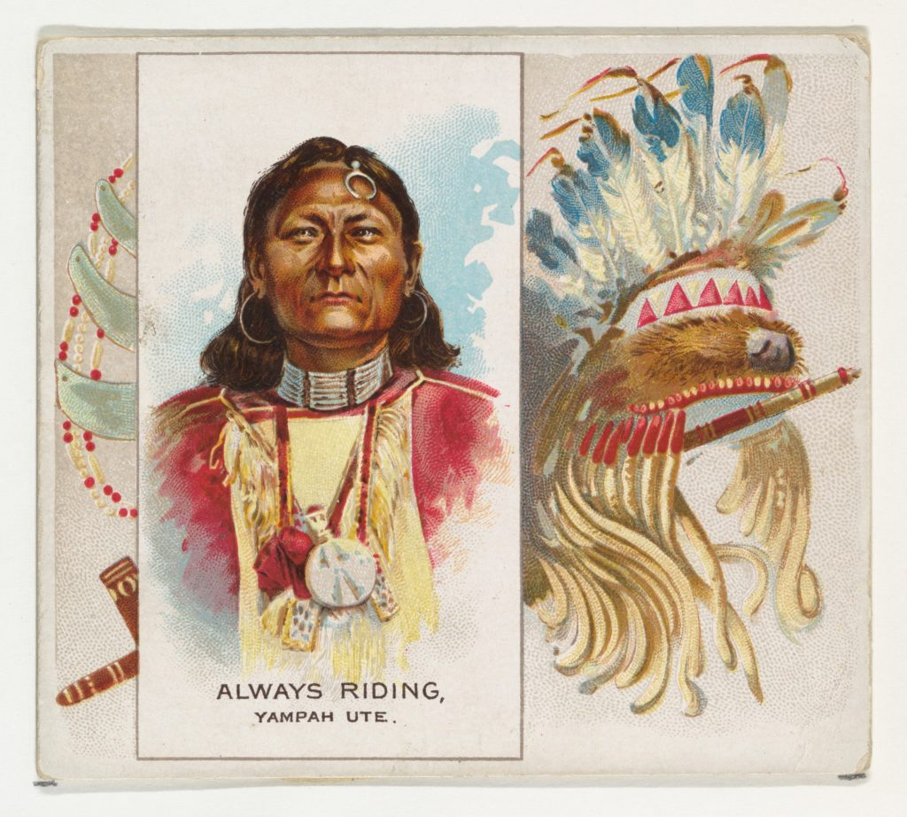 Always Riding, Yampah Ute, from the American Indian Chiefs series (N36) for Allen & Ginter Cigarettes