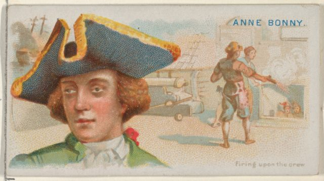 Anne Bonny, Firing Upon the Crew, from the Pirates of the Spanish Main series (N19) for Allen & Ginter Cigarettes