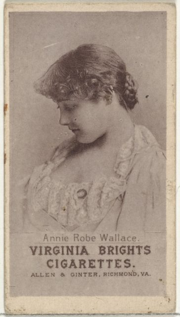 Annie Robe Wallace, from the Actresses series (N67) promoting Virginia Brights Cigarettes for Allen & Ginter brand tobacco products