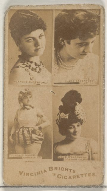 Blanche Thornton/ Clara Davenport/ Florence Baker, Corsair Co./ Maud Waldemere, Corsair Co., from the Actors and Actresses series (N45, Type 4) for Virginia Brights Cigarettes