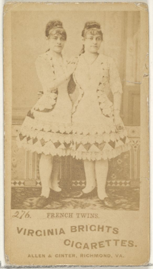 Card 276, French Twins, from the Actors and Actresses series (N45, Type 1) for Virginia Brights Cigarettes