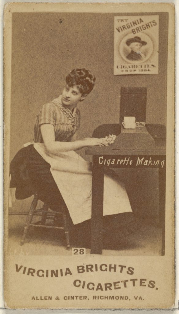 Card 28, from the series, Cigarette Making Girls (N46) for Virginia Brights Cigarettes