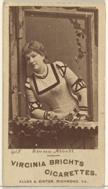 Card 415, Emma Abbott, from the Actors and Actresses series (N45, Type 1) for Virginia Brights Cigarettes