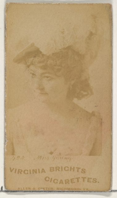Card 422, Miss Young, from the Actors and Actresses series (N45, Type 1) for Virginia Brights Cigarettes