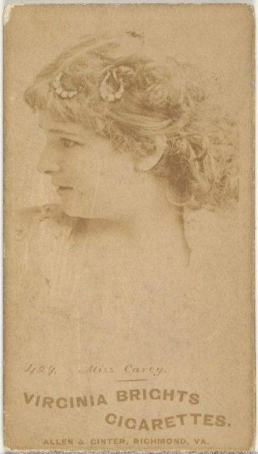Card 429, Miss Carey, from the Actors and Actresses series (N45, Type 1) for Virginia Brights Cigarettes