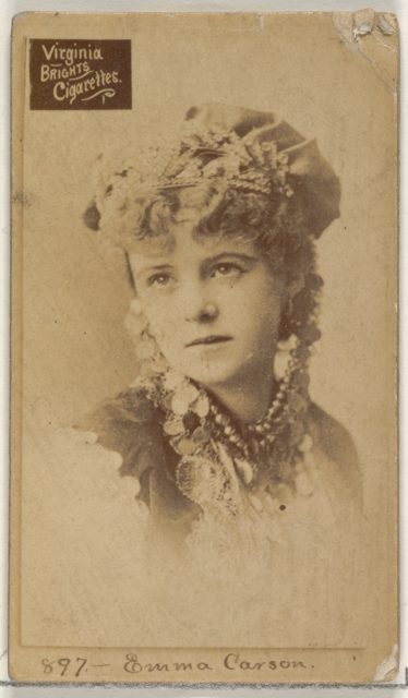 Card 897, Emma Carson, from the Actors and Actresses series (N45, Type 2) for Virginia Brights Cigarettes
