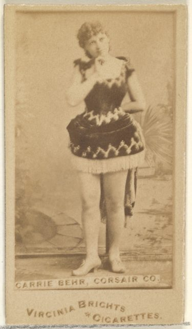 Carrie Behr, Corsair Co., from the Actors and Actresses series (N45, Type 1) for Virginia Brights Cigarettes