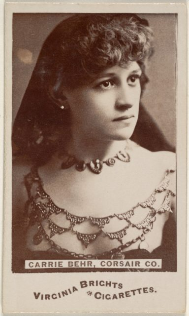 Carrie Behr, Corsair Co., from the Actors and Actresses series (N45, Type 6) for Virginia Brights Cigarettes