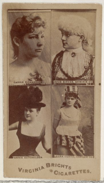 Carrie Richardson/ Josie Dirkee, Erminie Co./ Fannie Batchelder/ Laura Curtis, Corsair Co., from the Actors and Actresses series (N45, Type 4) for Virginia Brights Cigarettes