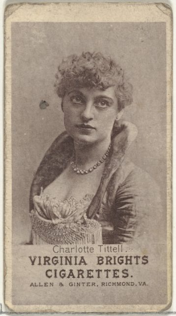 Charlotte Tittell, from the Actresses series (N67) promoting Virginia Brights Cigarettes for Allen & Ginter brand tobacco products