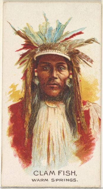 Clam Fish, Warm Springs, from the American Indian Chiefs series (N2) for Allen & Ginter Cigarettes Brands