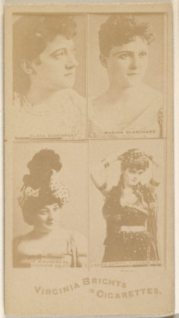 Clara Davenport/ Marion Blanchard/ Maud Waldemere, Corsair Co./ Laura Curtis, Corsair Co., from the Actors and Actresses series (N45, Type 4) for Virginia Brights Cigarettes