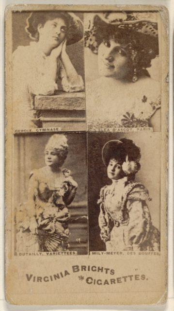 Depoix, Gymnase/ Lea D' Ascot, Paris/ Dutailly, Variettees/ Mily-Meyer, Des Bouffes, from the Actors and Actresses series (N45, Type 4) for Virginia Brights Cigarettes