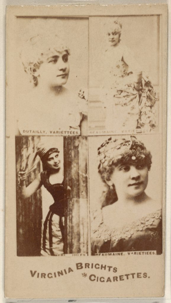 Dutailly, Variettees/ Beaumaine, Variettees/ Beaumaine, Variettees, from the Actors and Actresses series (N45, Type 4) for Virginia Brights Cigarettes