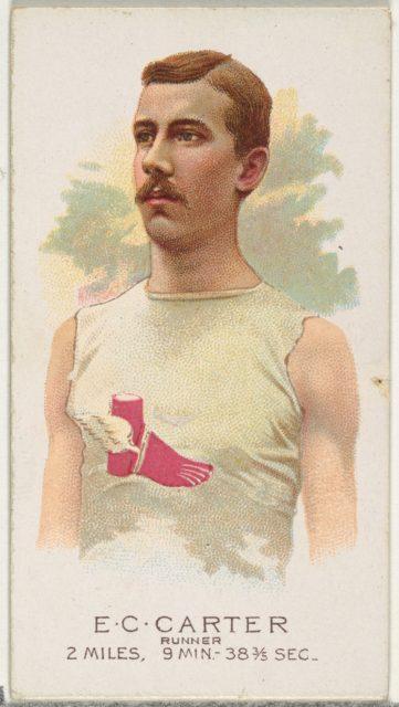 E.C. Carter, Runner, from World's Champions, Series 2 (N29) for Allen & Ginter Cigarettes