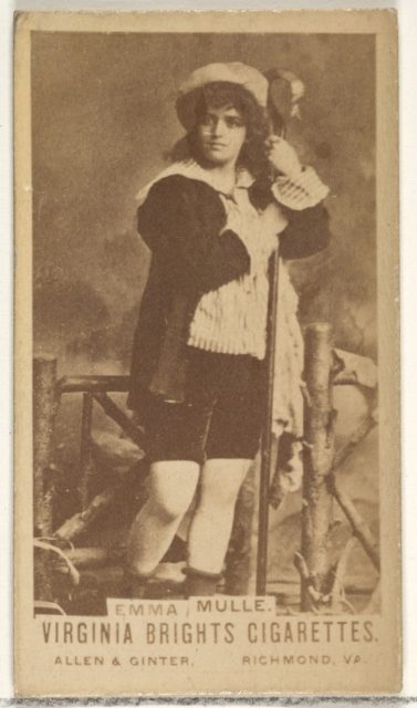 Emma Mulle, from the Actors and Actresses series (N45, Type 1) for Virginia Brights Cigarettes