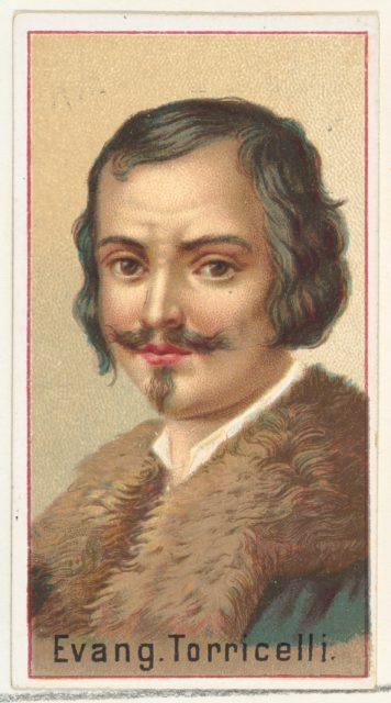 Evangelista Torricelli, printer's sample for the World's Inventors souvenir album (A25) for Allen & Ginter Cigarettes