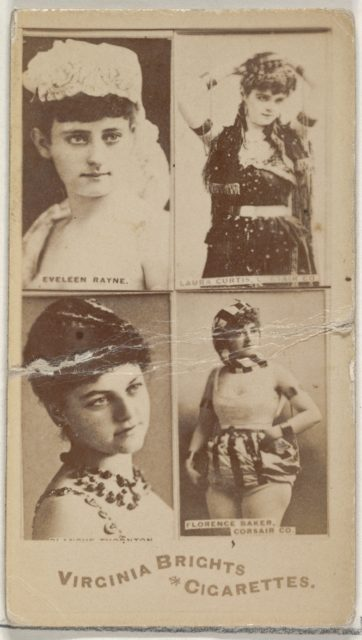 Eveleen Rayne/ Laura Curtis, Corsair Co./ Florence Baker, Corsair Co., from the Actors and Actresses series (N45, Type 4) for Virginia Brights Cigarettes