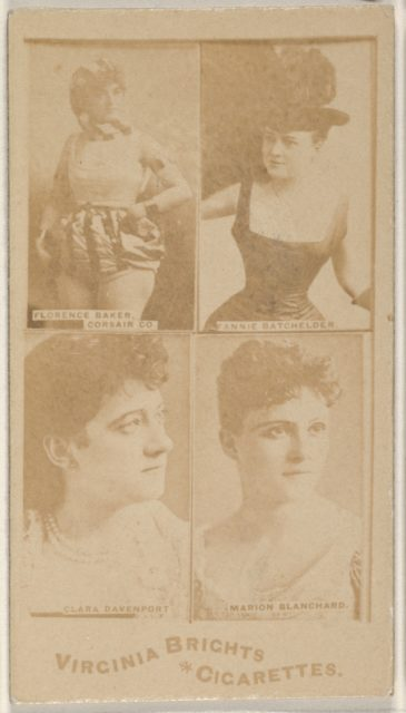 Florence Baker, Corsair Co./ Fannie Batchelder/ Clara Davenport/ Marion Blanchard, from the Actors and Actresses series (N45, Type 4) for Virginia Brights Cigarettes