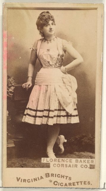 Florence Baker, Corsair Co., from the Actors and Actresses series (N45, Type 1) for Virginia Brights Cigarettes