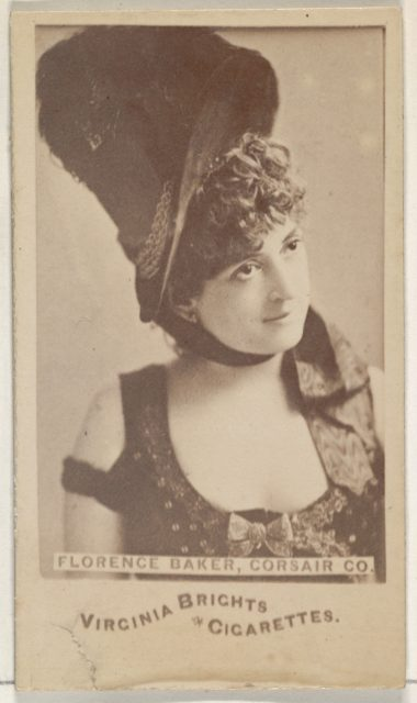 Florence Baker, Corsair Co., from the Actors and Actresses series (N45, Type 6) for Virginia Brights Cigarettes