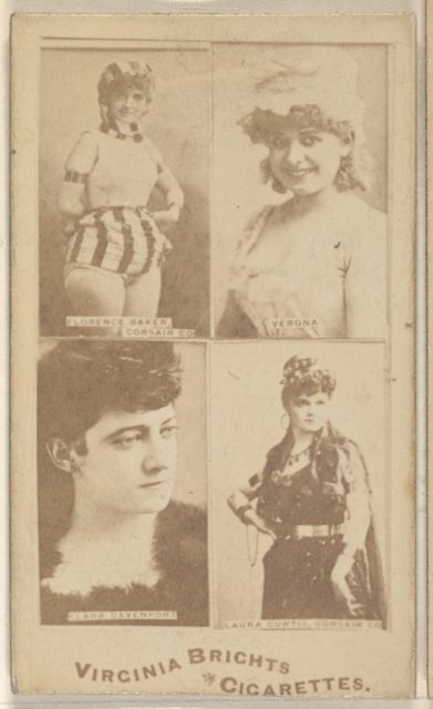 Florence Baker, Corsair Co./ Verona/ Clara Davenport/ Laura Curtis, Corsair Co., from the Actors and Actresses series (N45, Type 4) for Virginia Brights Cigarettes