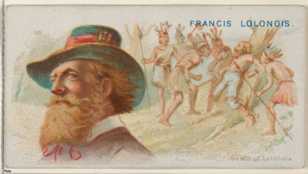 Francis Lolonois, Death of Lolonois, from the Pirates of the Spanish Main series (N19) for Allen & Ginter Cigarettes