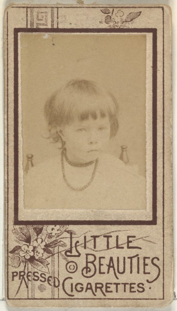 From the Girls series (N59) promoting Little Beauties Pressed Cigarettes for Allen & Ginter brand tobacco products