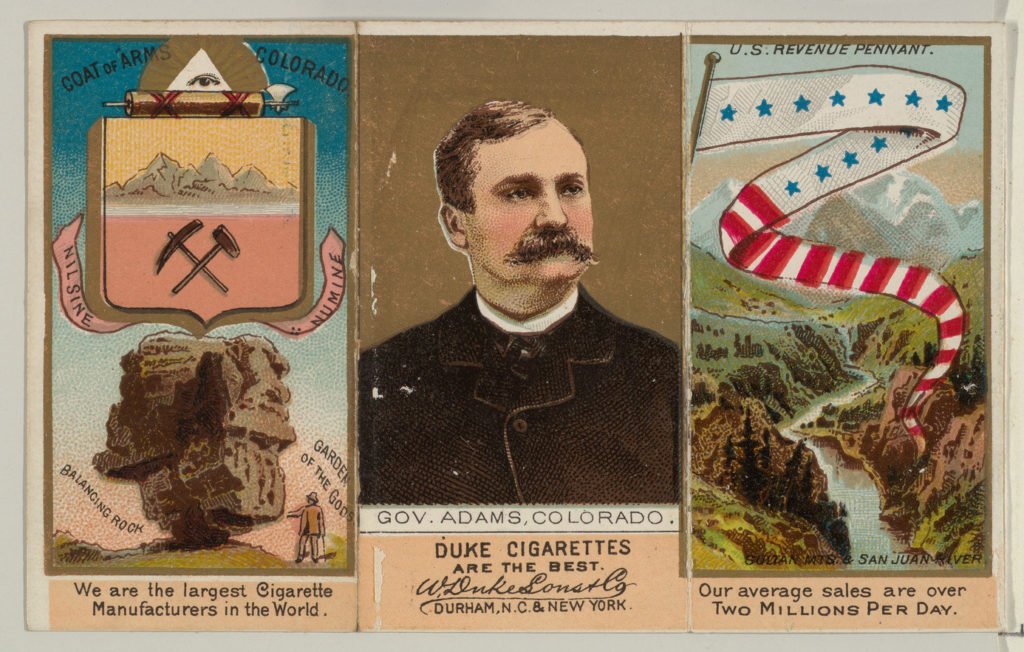 """Governor Adams, Colorado, from """"Governors, Arms, Etc."""" series (N133-2), issued by Duke Sons & Co."""